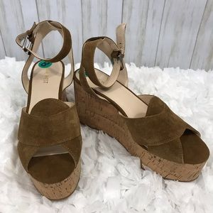 Nine West Platform Brown Suede Wedges. Size 8. NWT